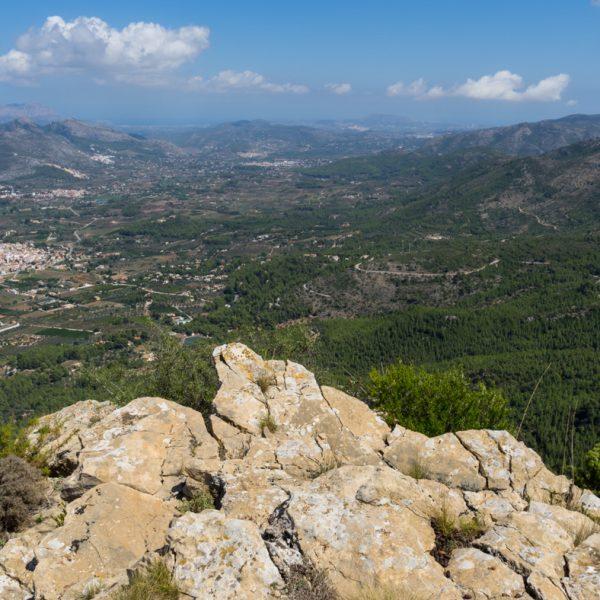 Blick auf den Penya Talai, Sierra del Carrascal de Parcent