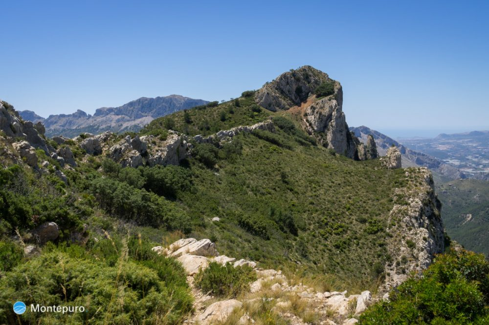 Cresta del Ferrer, Blick auf den Gebirgskamm