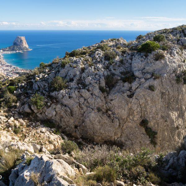 Ausblick vom Südgipfel La Mola auf Calpe, Sierra de Oltà