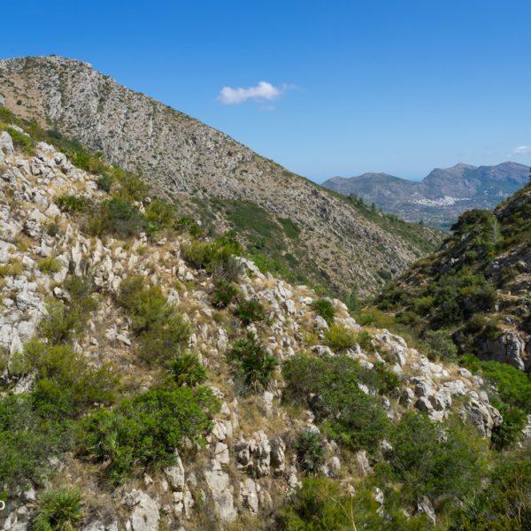 Aufstieg durch den Barranco Negre, zwischen Penya Talai und Ferrer