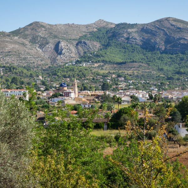 Ausblick auf Xaló, Sierra del Castell de la Solana