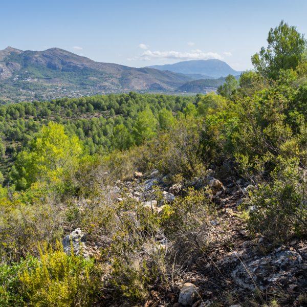 Sierra de la Devesa, Ausblick in die Sierra del Castell de la Solana und auf Montgó