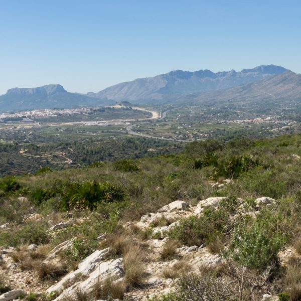 Panorama de la Sierra de Oltà y Sierra de Bèrnia, en la cima Serrellars, Sierra de Seldetes