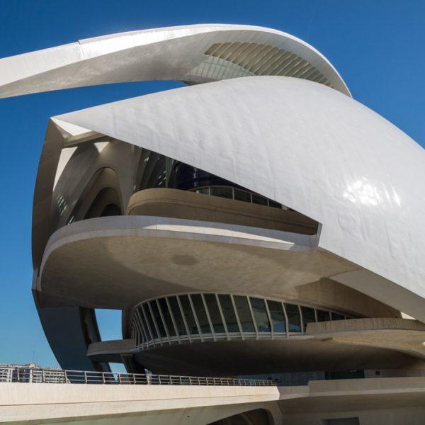 Palau de les Arts (Detail), Stadt der Künste und der Wissenschaften in Valencia